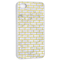 Brick1 White Marble & Yellow Leather (r) Apple Iphone 4/4s Seamless Case (white) by trendistuff