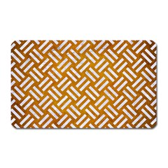 Woven2 White Marble & Yellow Grunge Magnet (rectangular) by trendistuff