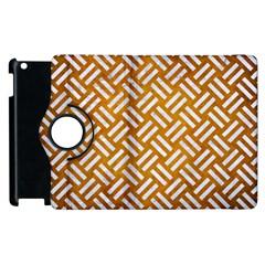 Woven2 White Marble & Yellow Grunge Apple Ipad 2 Flip 360 Case by trendistuff