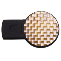 Woven1 White Marble & Yellow Grunge (r) Usb Flash Drive Round (2 Gb) by trendistuff