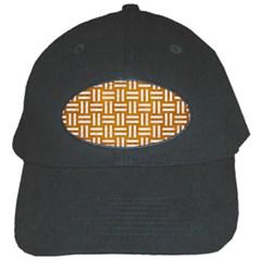 Woven1 White Marble & Yellow Grunge Black Cap by trendistuff