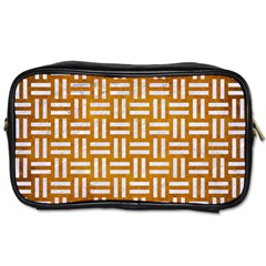 Woven1 White Marble & Yellow Grunge Toiletries Bags by trendistuff