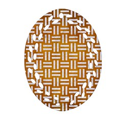 Woven1 White Marble & Yellow Grunge Ornament (oval Filigree) by trendistuff