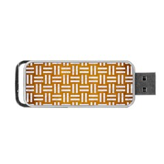 Woven1 White Marble & Yellow Grunge Portable Usb Flash (one Side) by trendistuff