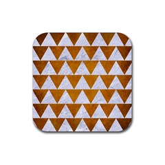 Triangle2 White Marble & Yellow Grunge Rubber Square Coaster (4 Pack)