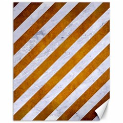 Stripes3 White Marble & Yellow Grunge (r) Canvas 11  X 14