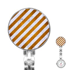 Stripes3 White Marble & Yellow Grunge (r) Stainless Steel Nurses Watch by trendistuff