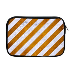 Stripes3 White Marble & Yellow Grunge (r) Apple Macbook Pro 17  Zipper Case by trendistuff