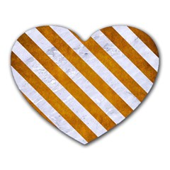 Stripes3 White Marble & Yellow Grunge Heart Mousepads by trendistuff