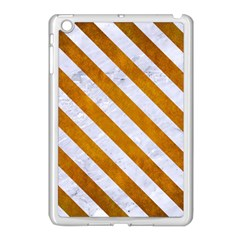 Stripes3 White Marble & Yellow Grunge Apple Ipad Mini Case (white) by trendistuff