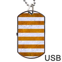 Stripes2white Marble & Yellow Grunge Dog Tag Usb Flash (one Side) by trendistuff