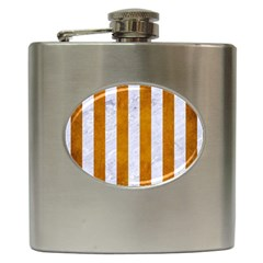 Stripes1 White Marble & Yellow Grunge Hip Flask (6 Oz) by trendistuff