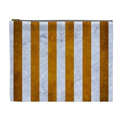 Stripes1 White Marble & Yellow Grunge Cosmetic Bag (xl) by trendistuff