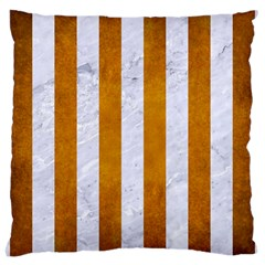 Stripes1 White Marble & Yellow Grunge Large Cushion Case (two Sides) by trendistuff