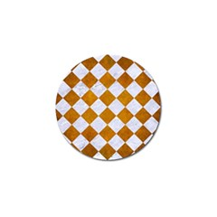 Square2 White Marble & Yellow Grunge Golf Ball Marker (10 Pack) by trendistuff
