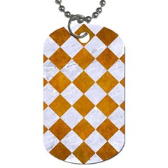 Square2 White Marble & Yellow Grunge Dog Tag (two Sides) by trendistuff