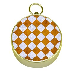 Square2 White Marble & Yellow Grunge Gold Compasses by trendistuff