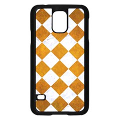 Square2 White Marble & Yellow Grunge Samsung Galaxy S5 Case (black) by trendistuff