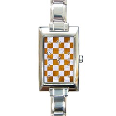 Square1 White Marble & Yellow Grunge Rectangle Italian Charm Watch