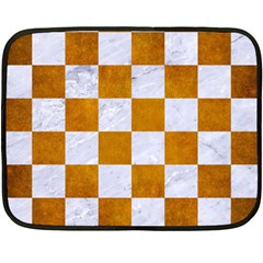 Square1 White Marble & Yellow Grunge Double Sided Fleece Blanket (mini)  by trendistuff