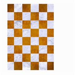 Square1 White Marble & Yellow Grunge Large Garden Flag (two Sides) by trendistuff
