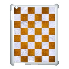 Square1 White Marble & Yellow Grunge Apple Ipad 3/4 Case (white) by trendistuff