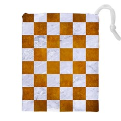 Square1 White Marble & Yellow Grunge Drawstring Pouches (xxl) by trendistuff