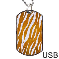 Skin3 White Marble & Yellow Grunge Dog Tag Usb Flash (two Sides) by trendistuff