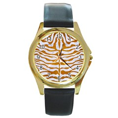 Skin2 White Marble & Yellow Grunge (r) Round Gold Metal Watch by trendistuff