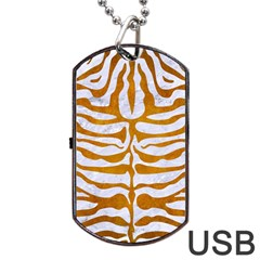 Skin2 White Marble & Yellow Grunge (r) Dog Tag Usb Flash (two Sides) by trendistuff