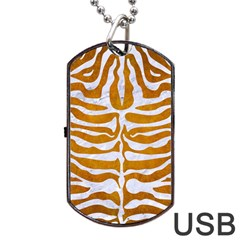 Skin2 White Marble & Yellow Grunge Dog Tag Usb Flash (two Sides) by trendistuff