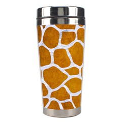 Skin1 White Marble & Yellow Grunge (r) Stainless Steel Travel Tumblers by trendistuff