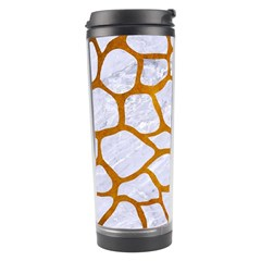 Skin1 White Marble & Yellow Grunge Travel Tumbler by trendistuff