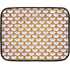 Scales3 White Marble & Yellow Grunge (r) Double Sided Fleece Blanket (mini)  by trendistuff