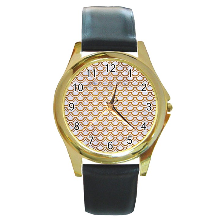 SCALES2 WHITE MARBLE & YELLOW GRUNGE (R) Round Gold Metal Watch