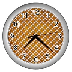 Scales2 White Marble & Yellow Grunge Wall Clocks (silver)  by trendistuff