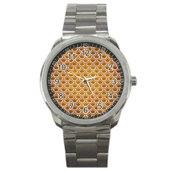 Scales2 White Marble & Yellow Grunge Sport Metal Watch by trendistuff