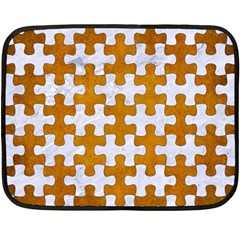 Puzzle1 White Marble & Yellow Grunge Double Sided Fleece Blanket (mini)  by trendistuff