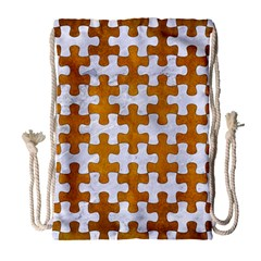 Puzzle1 White Marble & Yellow Grunge Drawstring Bag (large) by trendistuff