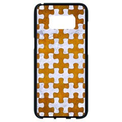 Puzzle1 White Marble & Yellow Grunge Samsung Galaxy S8 Black Seamless Case by trendistuff