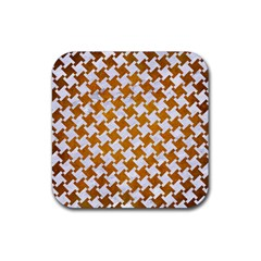 Houndstooth2 White Marble & Yellow Grunge Rubber Square Coaster (4 Pack)