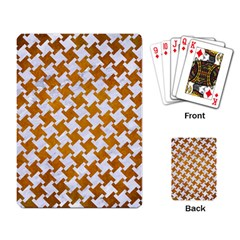 Houndstooth2 White Marble & Yellow Grunge Playing Card by trendistuff
