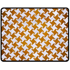 Houndstooth2 White Marble & Yellow Grunge Fleece Blanket (medium)  by trendistuff