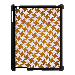 Houndstooth2 White Marble & Yellow Grunge Apple Ipad 3/4 Case (black) by trendistuff