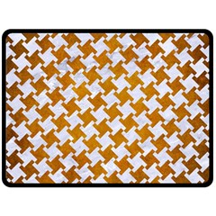 Houndstooth2 White Marble & Yellow Grunge Double Sided Fleece Blanket (large)