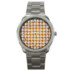 Houndstooth1 White Marble & Yellow Grunge Sport Metal Watch by trendistuff