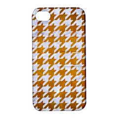 Houndstooth1 White Marble & Yellow Grunge Apple Iphone 4/4s Hardshell Case With Stand by trendistuff