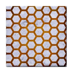 Hexagon2 White Marble & Yellow Grunge (r) Face Towel by trendistuff