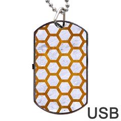 Hexagon2 White Marble & Yellow Grunge (r) Dog Tag Usb Flash (two Sides) by trendistuff