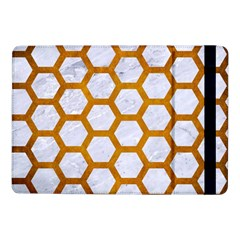 Hexagon2 White Marble & Yellow Grunge (r) Samsung Galaxy Tab Pro 10 1  Flip Case by trendistuff